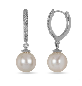 White Gold Pearl & Diamond Dangle Earrings