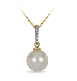 Yellow Gold (0.06ct) Pearl and Diamond Pendant