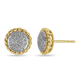 10K Yellow & White Gold Rope Pave Diamond Studs (0.19ct)