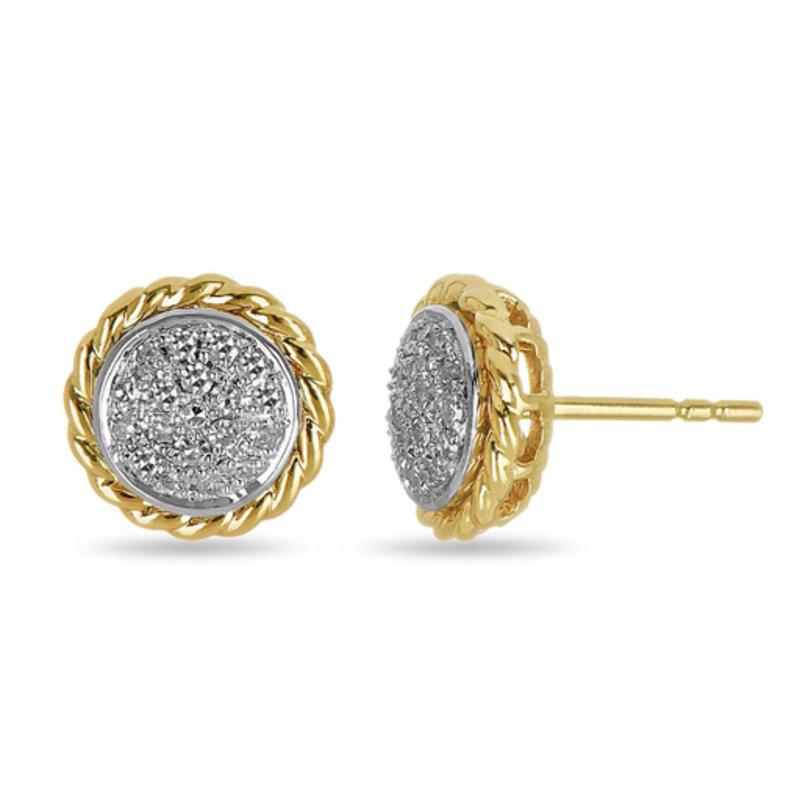 10K Yellow & White Gold Rope Pave Diamond Studs (0.19ct)