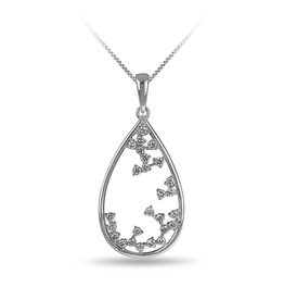 10K White Gold (0.34ct) Diamond Drop Pendant