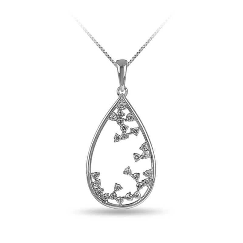 10K White Gold (0.34ct) Diamond Teardrop Waterfall Pendant