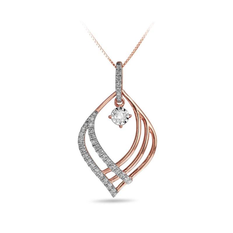 10K Rose Gold (0.26ct) Diamond Contemporary Pendant