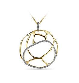Diamond Asymmetrical Round Diamond Yellow Gold Pendant