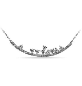 10K White Gold (0.51ct) Diamond Curved Horizontal Necklace