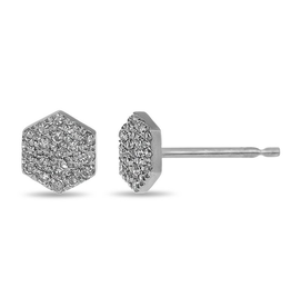 White Gold Pavee Set Diamond Hexagon Studs (0.10ct)