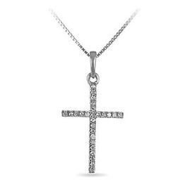 White Gold Diamond Cross Necklace (0.0