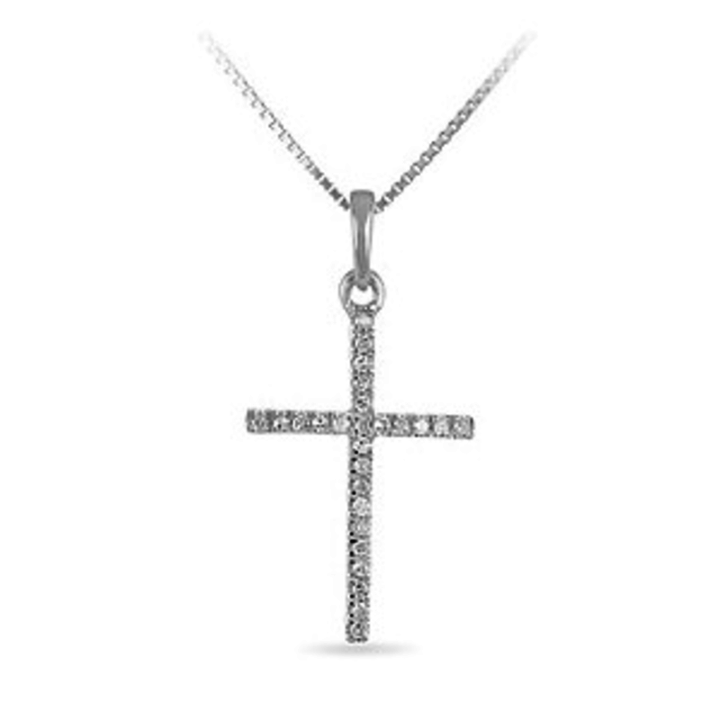 White Gold Diamond Cross Necklace (0.05ct)