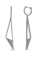White Gold Geometric (0.34ct) Pavee Set Diamond Dangle Earrings