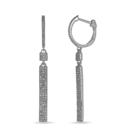 Pavee Three Row (0.30ct) Diamond Dangle Earrings White Gold