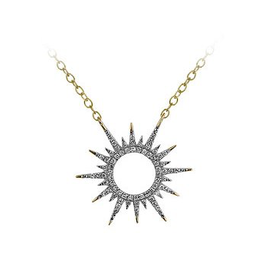Diamond Sun Ray Necklace (0.11ct) 10K Yellow Gold