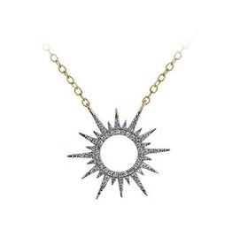 Diamond Sun Ray Yellow Gold Necklace