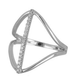 White Gold Diamond Geometric Design Ring