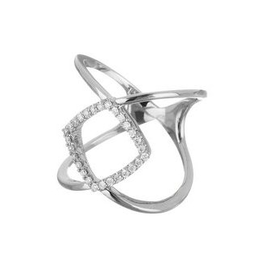 White Gold Diamond Geometric Ring