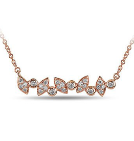 Marquise and Round Shaped Diamond Rose Gold Necklace