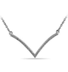 "10K White Gold (0.16ct) ""V"" Shaped Diamond Necklace"