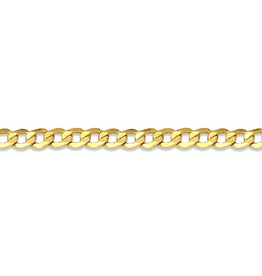 """10K Yellow Gold (3.2mm) Curb Ankle Bracelet 10"""""""