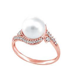 Rose Gold (0.28ct) Pearl with Diamonds and Canadian Diamonds Ring