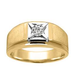 10K Two Tone Yellow and White Gold (0.20ct) Diamond Men's Ring