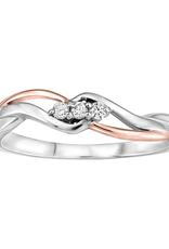 10K White & Rose Gold (0.06ct) Diamond Three Stone Ring