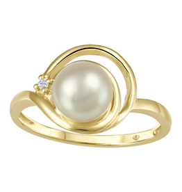 Yellow Gold (0.01ct) Pearl and Diamond Ring