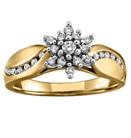 Yellow Gold Diamond Cluster Ring (0.03ct)