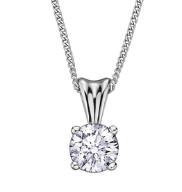 Fire and Ice White Gold Canadian Diamond Solitaire Pendant (0.10ct)