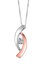 Fire and Ice White and Rose Gold Canadian Diamond Pendant