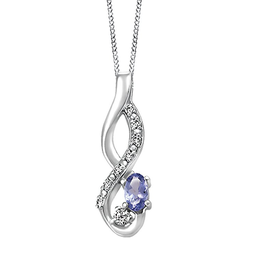 Fire and Ice White Gold Tanzanite Pendant with Diamond and Canadian Diamond