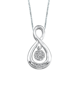 10K White Gold (0.07ct) Dancing Diamond Pendant