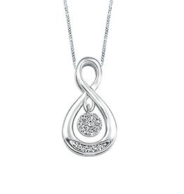 White Gold (0.07cttw) Dancing Diamond Pendant