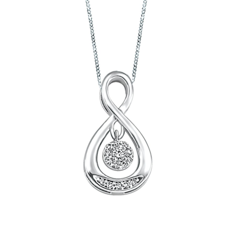 10K White Gold (0.07ct) Dancing Diamond Pendant