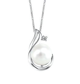 Fire and Ice White Gold (0.03ct) Pearl with Canadian Diamond Pendant