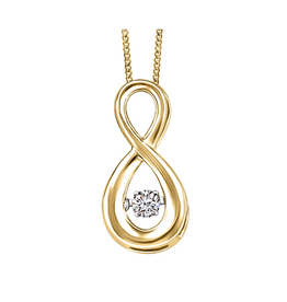 Fire and Ice 10K Yellow Gold (0.06ct) Canadian Dancing Diamond Infinity Pendant