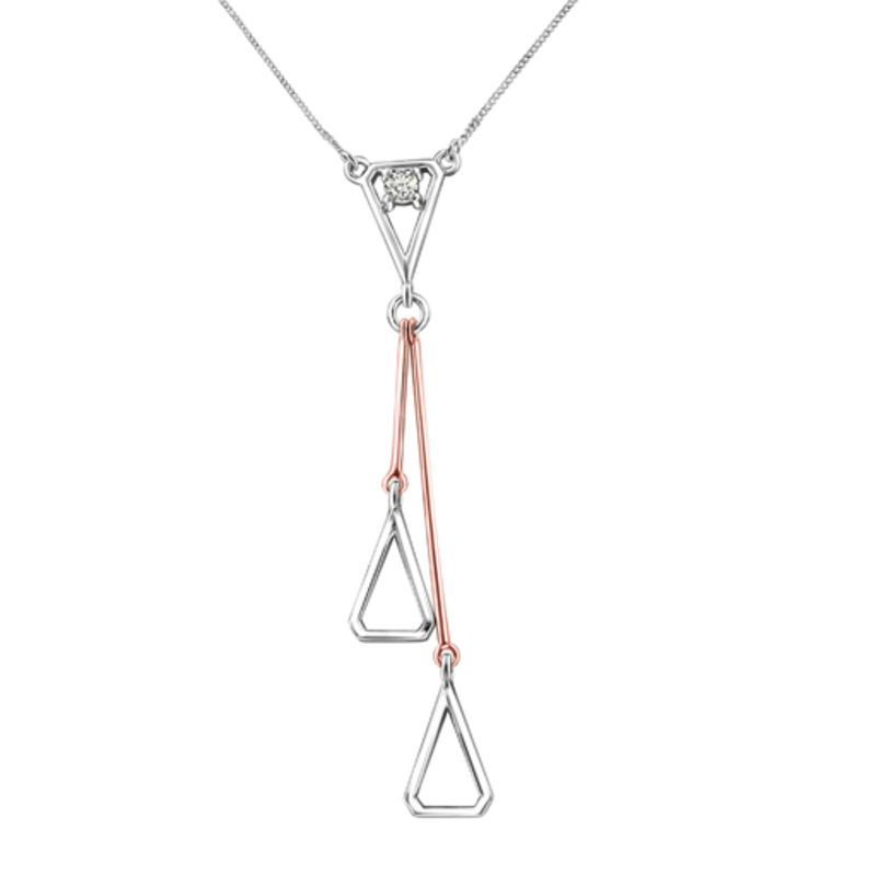 Fire and Ice 10K White and Rose Gold (0.08ct) Canadian Diamond Dangle Necklace
