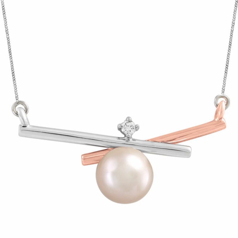 White and Rose Gold (0.024ct) Pearl Necklace with Canadian Diamond