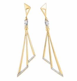 Fire and Ice Yellow Gold (0.13ct) Diamonds and Canadian Diamond Dangle Earrings