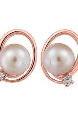 Fire and Ice 10K Rose Gold Pearl and (0.05ct) Canadian Diamond Earrings