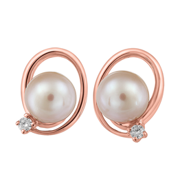 Fire and Ice Rose Gold Pearl and (0.05ct) Canadian Diamond Earrings