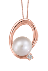 Fire and Ice 10K Rose Gold Pearl and (0.025ct) Canadian Diamond Pendant