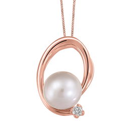 Fire and Ice Rose Gold (0.025ct) Pearl and Canadian Diamond Pendant