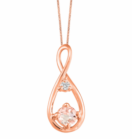 Fire and Ice Rose Gold Morganite and Canadian Diamond Infinity Pendant