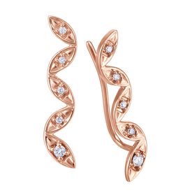 Fire and Ice Rose Gold Diamond Climbers (0.05tw)