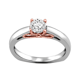 Fire and Ice Brilliant Round (0.47ct) Canadian Diamond Rose and White Gold Ring