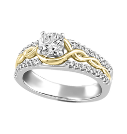 Fire and Ice Two Tone White & Yellow Gold  (0.87ct) Canadian Diamond Engagement Ring
