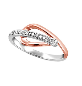 Fire and Ice Two Tone Rose and White Gold Canadian Diamond Ring
