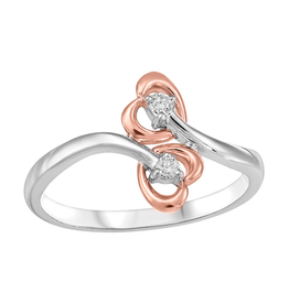 Fire and Ice White & Rose Gold (0.05ct) Double Heart Canadian Diamond Ring