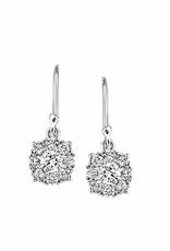 10K White Gold Cluster (0.25ct) Diamond Dangle Earrings