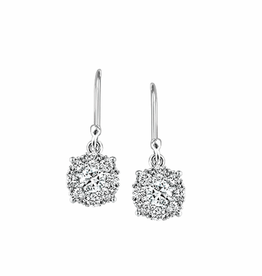 White Gold Cluster (0.25ct) Diamond Dangle Earrings