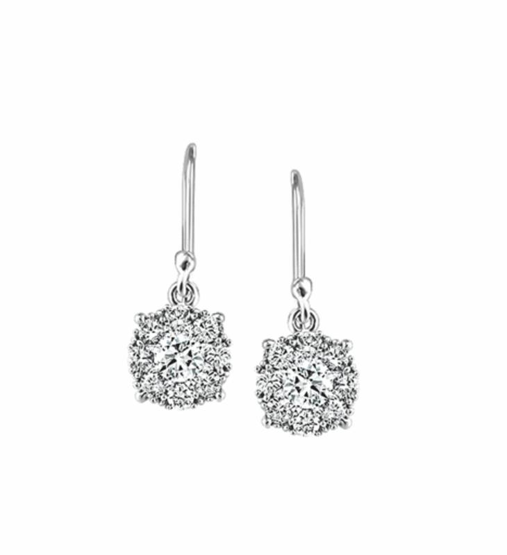 White Gold Cluster (0.25ct) Diamond Dangle Earrings